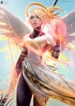 1girl adapted_costume alternate_wings aqua_eyes armor bangs black_legwear blonde_hair breastplate commentary fantasy feathered_wings holding holding_staff lips long_skirt looking_up magic making_of mechanical_halo mercy_(overwatch) overwatch pantyhose ross_tran skirt solo staff swept_bangs white_wings wings