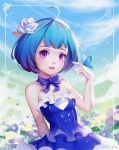1girl ahoge animal_ears artist_name blue_dress blue_hair blue_rose breasts butterfly butterfly_on_hand choker clouds dress eyebrows eyelashes field flower flower_field frame hair_flower hair_ornament liuzexiong original parted_lips ribbon rose sky small_breasts solo strapless strapless_dress upper_body violet_eyes watermark