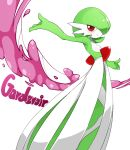 blush character_name commentary_request gardevoir looking_at_viewer no_humans outstretched_arms pokemon pokemon_(creature) redhead sente simple_background smile standing white_background