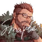 1boy beard blue_eyes closed_mouth coat facial_hair fate/grand_order fate_(series) glasses gloves guoguo hand_on_own_chin jacket_on_shoulders male_focus military silver_hair simple_background solo white_background william_tell_(fate/grand_order)
