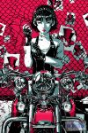1girl anat_(persona_5) avery_kua braid chain-link_fence fence fingerless_gloves flyer gloves ground_vehicle headlights highres logo looking_at_viewer monochrome motor_vehicle motorcycle niijima_makoto persona persona_5 red_background red_eyes serious short_hair solo spiked_gloves spiked_knuckles upper_body