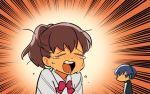 1boy 1girl brown_hair chibi closed_eyes crying emphasis_lines female_protagonist_(persona_3) jitome open_mouth persona persona_3 persona_3:_dancing_moon_night persona_3_portable persona_dancing_night school_uniform yuuki_makoto