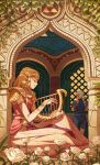 2girls absurdres blonde_hair closed_eyes dress earrings elbow_gloves flower gloves green_hair harp highres impa instrument jewelry kevin_hong multiple_girls music pink_dress plant playing_instrument pointy_ears princess_zelda sitting smile the_legend_of_zelda the_legend_of_zelda:_ocarina_of_time triforce window