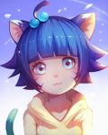 1girl :3 animal_ears bangs blue_eyes blue_hair boruto:_naruto_the_movie cat_ears cat_tail hair_bobbles hair_ornament liuzexiong naruto short_hair smile solo sweater tail upper_body uzumaki_himawari whisker_markings