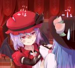 2girls alternate_color anger_vein bandaid bandaid_on_nose bat_wings blue_hair clothes_grab commentary_request curtains dress elbow_gloves gloves grabbing hat hinanawi_tenshi kuroda_kuwa lavender_hair long_hair multiple_girls player_2 pointy_ears puffy_short_sleeves puffy_sleeves red_eyes remilia_scarlet short_hair short_sleeves slit_pupils smile tagme torn_clothes torn_gloves touhou wings