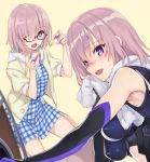 2girls :d alternate_costume armor armpits bangs bare_legs bare_shoulders black-framed_glasses black_clothes black_gloves blue_dress blush breasts dress drying dual_persona elbow_gloves fate/grand_order fate_(series) female gem glasses gloves hair_between_eyes hair_over_one_eye hands hands_up happy highres holding holding_gem holding_shield hood hoodie large_breasts lavender_hair leaning leaning_forward legs looking_at_viewer looking_to_the_side matsuryuu multicolored multicolored_gloves multiple_girls navel open_clothes open_hoodie open_mouth plaid plaid_dress purple_gloves shield shielder_(fate/grand_order) shiny shiny_hair short_hair short_sleeves sitting sleeveless smile sweat symbol-shaped_pupils towel violet_eyes wariza white_towel