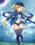 1girl :o absurdres ahoge artoria_pendragon_(all) bangs baseball_cap black_buruma black_hat black_legwear blonde_hair blue_jacket blue_scarf blue_shoes blush buruma clothes_writing clouds cloudy_sky day dual_wielding eyebrows_visible_through_hair glint gluteal_fold grass hat heroine_x highres himitsucalibur holding holding_sword holding_weapon jacket laces leg_up light_blue_eyes long_hair long_sleeves looking_at_viewer motion_blur open_clothes open_jacket outdoors pocket ponytail rojiura_satsuki:_chapter_heroine_sanctuary scarf shirt shoes sidelocks sky sneakers solo standing standing_on_one_leg sword t-shirt taro_(ultrataro) thigh-highs track_jacket weapon white_shirt wind
