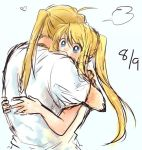 1boy 1girl =3 back_turned blonde_hair blue_eyes blush couple edward_elric eyebrows_visible_through_hair fullmetal_alchemist hands_on_another's_back heart hetero hug long_hair number ponytail shirt simple_background tsukuda0310 white_background white_shirt winry_rockbell