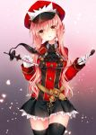 1girl ascot belt black_ascot black_legwear black_skirt blush brown_eyes cowboy_shot eyebrows_visible_through_hair fate/grand_order fate_(series) gloves gradient gradient_background hair_between_eyes hat head_tilt holding light_particles long_hair long_sleeves looking_at_viewer medb_(fate/grand_order) military military_uniform nogi_takayoshi parted_lips peaked_cap petticoat pink_background pink_hair pleated_skirt red_hat riding_crop skirt sleeve_cuffs smile solo standing thigh-highs thigh_gap uniform very_long_hair white_gloves wing_collar zettai_ryouiki