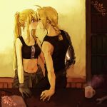 1boy 1girl automail belt black_shirt blonde_hair blue_eyes bookshelf braid clothes_around_waist cup edward_elric eye_contact eyebrows_visible_through_hair fullmetal_alchemist gloves hand_on_table imminent_kiss jacket_around_waist long_hair looking_at_another mug navel pants ponytail shirt sleeveless table tank_top tsukuda0310 very_long_hair wall winry_rockbell wrench yellow_eyes