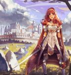 1girl armor cape celica_(fire_emblem) dress fingerless_gloves fire_emblem fire_emblem_echoes:_mou_hitori_no_eiyuuou gloves highres klegsart long_hair looking_at_viewer red_eyes redhead smile solo thigh-highs tiara weapon