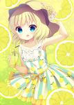 1girl :o arm_up bangs bare_shoulders blonde_hair blue_eyes collarbone commentary_request cowboy_shot cup dress drinking_glass drinking_straw eyebrows_visible_through_hair flat_chest flower food frilled_dress frills fruit fruit_background gochuumon_wa_usagi_desu_ka? hand_on_headwear hat hat_flower holding holding_glass kirima_sharo lemon lemon_print lemonade looking_at_viewer open_mouth print_dress short_hair sleeveless sleeveless_dress solo standing striped striped_dress suzu_(kosakabe)
