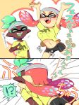 !? >_< +++ 1boy 1girl 2koma arms_up bike_shorts blush breast_press breasts comic dark_skin domino_mask emphasis_lines fangs glomp green_hair happy headband hug inkling kiss long_hair mask minamidena navel nose_blush open_mouth pointing pointy_ears redhead shirt smile splatoon stomach surprised t-shirt tentacle_hair topknot translation_request