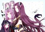 5girls animal_hood bare_shoulders blush breasts claws collar cover cover_page doujin_cover dress euryale facial_mark fate/grand_order fate/hollow_ataraxia fate/stay_night fate_(series) forehead_mark gorgon_(fate) hairband headdress highres hood jewelry large_breasts lolita_hairband long_hair looking_at_viewer medusa_(lancer)_(fate) monster_girl multiple_girls open_mouth purple_hair rider scales siblings sisters smile snake square_pupils stheno sui_(camellia) time_paradox twins twintails very_long_hair violet_eyes wings