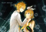 1boy 1girl blonde_hair blue_eyes blush glasses hair_ornament hairclip hand_on_another's_face headphones kagamine_len kagamine_rin long_sleeves looking_at_another neckerchief parted_lips ryuu32 short_hair sleeveless smile vocaloid yellow_neckerchief