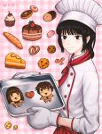 1girl baguette baking_sheet bangs black_hair blunt_bangs blush bread brown_eyes cake chef_hat chef_uniform cherry closed_mouth cookie copyright_name critter100 cupcake doughnut food from_side fruit hat heart kazehaya_shouta kimi_ni_todoke kuronuma_sawako long_hair looking_at_viewer macaron oven_mitts pink_background plaid plaid_background pretzel short_hair slice_of_cake smile solo strawberry swiss_roll watermark