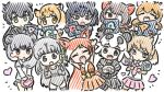 6+girls :d \o/ animal_ears appleq arms_up australian_devil_(kemono_friends) black_eyes blonde_hair brown_eyes brown_hair character_request closed_eyes commentary_request crunchyroll extra eyepatch giant_panda_(kemono_friends) glowstick green_eyes grey_eyes grey_hair heart highres hime_(crunchyroll) kemono_friends long_hair looking_at_viewer multiple_girls open_mouth orange_hair outstretched_arms short_hair smile tail white_hair yellow_eyes