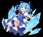 1girl baku_ph barefoot black_background blue_dress blue_eyes blue_hair bow cirno dress feet ice ice_crystal ice_wings open_mouth outstretched_arms ribbon short_hair simple_background smile soles solo toes touhou wings