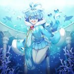 :d :o antenna_hair blue blue_eyes blue_hair blue_shoes column coral kasuka108 long_sleeves manaphy mantine mantyke open_mouth personification pillar pokemon pokemon_(creature) shoes silhouette smile solo twitter_username underwater white_legwear wide_sleeves