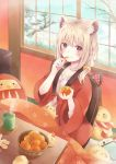 1girl 2017 absurdres animal_ears bangs bird blonde_hair blush braid breasts chick creature cup daruma_doll eating eyebrows_visible_through_hair food fruit highres holding holding_food holding_fruit kotatsu looking_at_viewer millcutto open_clothes open_robe orange orange_slice original robe sitting sleeping small_breasts smile snow table tree violet_eyes wide_sleeves window