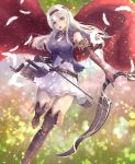 1girl alternate_costume arrow boots bow_(weapon) elbow_gloves feathers gloves hairband irohakaede kantai_collection long_hair looking_at_viewer open_mouth quiver scabbard shadowverse sheath shoukaku_(kantai_collection) skirt solo sword thigh-highs thigh_boots weapon white_hair white_skirt yellow_eyes
