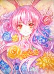 1girl animal_ears ballpoint_pen_(medium) bangs blue_rose blush color_ink_(medium) commentary flower flower_request looking_at_viewer mirror_(xilu4) pink_hair rabbit_ears red_eyes red_rose reisen_udongein_inaba rose smile solo touhou traditional_media