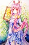 1girl animal_ears ballpoint_pen_(medium) bangs blue_hair breasts color_ink_(medium) commentary flower frown grass holding holding_hair long_hair long_sleeves looking_at_viewer medium_breasts mirror_(xilu4) multicolored_hair nightgown painting_(object) pink_hair rabbit_ears red_eyes reisen_udongein_inaba solo standing sunflower touhou traditional_media very_long_hair