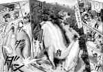 3girls ankylosaurus bonnet boots choufu_shimin comic dinosaur dress forest glasses greyscale headgear horns isolated_island_hime kantai_collection kirishima_(kantai_collection) kongou_(kantai_collection) long_hair monochrome multiple_girls nature pterodactyl shinkaisei-kan short_hair spinosaurus thigh-highs thigh_boots translated volcano
