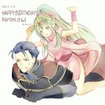 1boy 1girl 2017 armor atoatto blue_eyes blue_hair cape chiki dress fire_emblem fire_emblem:_monshou_no_nazo fire_emblem:_rekka_no_ken fire_emblem_heroes gloves green_eyes green_hair hair_ornament hair_ribbon hector_(fire_emblem) jewelry long_hair open_mouth pointy_ears ponytail ribbon short_hair