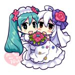 2girls ahoge aqua_eyes aqua_hair blush bride caffein carrying chibi dress elbow_gloves flower gloves hatsune_miku long_hair looking_at_viewer multiple_girls open_mouth ponytail princess_carry red_eyes short_hair silver_hair twintails vocaloid voyakiloid wedding wedding_dress wife_and_wife yowane_haku yuri