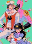 1boy 1girl absurdres black_hair blue_dress blue_eyes brother_and_sister bubble child collarbone dress groin hand_on_hip hat highres holding_arm jojo_no_kimyou_na_bouken jojolion kira_yoshikage kira_yoshikage_(jojolion) long_hair navel nijimura_kyou sailor sailor_hat siblings stand_(jojo) star striped striped_dress tariah_furlow time_paradox vest wavy_hair younger