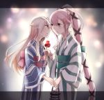 2girls alternate_costume alternate_hairstyle black_border black_ribbon blonde_hair blush border braid candy_apple commentary_request cowboy_shot eye_contact eyebrows_visible_through_hair fingernails food french_braid hair_between_eyes hair_flaps hair_ornament hair_ribbon hairclip imminent_kiss japanese_clothes kantai_collection kimono kuromaru_mn long_hair long_sleeves looking_at_another multiple_girls obi parted_lips pink_hair red_eyes remodel_(kantai_collection) ribbon sash very_long_hair wide_sleeves wrist_grab yellow_eyes yukata yura_(kantai_collection) yuri yuudachi_(kantai_collection)