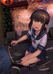 1girl bag bicycle black_legwear blue_skirt blush brown_hair collarbone eyebrows_visible_through_hair fireworks from_above fubuki_(kantai_collection) green_eyes ground_vehicle hair_between_eyes ichikawa_feesu kantai_collection lantern looking_up night open_mouth pier pleated_skirt riding_bike school_uniform serafuku shoes short_hair short_sleeves skirt solo water white_shoes