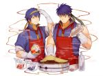 2boys apron blue_eyes blue_hair cape cooking fire_emblem fire_emblem:_monshou_no_nazo fire_emblem:_souen_no_kiseki food gloves headband ike male_focus marth multiple_boys smile super_smash_bros. tiara
