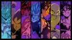 6+boys ake_(ake54) armor bald bandanna bardock black_hair blonde_hair blue_eyes boots broly clenched_hands collar dragon_ball dragonball_z earrings facial_hair fighting_stance food frame frown fruit gloves grin jewelry long_hair looking_at_viewer looking_away male_focus multiple_boys mustache nappa open_mouth outstretched_arms outstretched_hand panels pink_eyes purple_background raditz red_eyes scar shirtless short_hair smile son_gokuu spiky_hair super_saiyan tullece vegeta wristband yellow_eyes