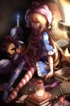 1girl american_flag_dress american_flag_legwear arrow blonde_hair book bottle candle character_doll clownpiece commentary_request cork doll dress expressionless fairy_wings fire frilled_dress frills full_body hat hecatia_lapislazuli highres jack-o'-lantern jester_cap long_hair looking_at_viewer map multicolored_hair neck_ruff pantyhose polka_dot polka_dot_hat purple_hat red_eyes redhead revision sack scroll short_dress sitting skull solo spring_(object) star star_print striped touhou transparent_wings very_long_hair wings yilocity