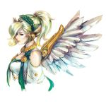 1girl alternate_costume blonde_hair blue_eyes breasts commentary feathered_wings from_side hair_over_one_eye head_wreath headpiece high_ponytail highres jewelry laurel_crown mechanical_wings medium_hair mercy_(overwatch) nvalkyrja overwatch profile red_lips short_sleeves simple_background small_breasts solo upper_body white_background winged_victory_mercy wings