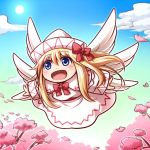 1girl :d angel_wings bangs blonde_hair blue_eyes blue_sky blush cherry_blossoms chibi clouds commentary_request day dress eyebrows_visible_through_hair feathered_wings floating_hair flying hair_between_eyes lily_white long_hair looking_afar multiple_wings open_mouth red_ribbon ribbon sky smile solo sun tottsuman touhou white_dress white_wings wings