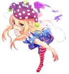 1girl american_flag_dress american_flag_legwear asuzemu blonde_hair clownpiece fire full_body hair_between_eyes hat holding jester_cap leaning_forward long_hair looking_at_viewer neck_ruff outstretched_arms pantyhose pink_eyes polka_dot short_sleeves simple_background smile solo star star_print striped torch touhou white_background