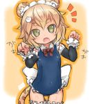 1girl :d animal_ears blonde_hair blue_swimsuit blush borrowed_character cat_ears cat_tail commentary_request covered_navel cowboy_shot detached_sleeves fang frilled_hairband fukurou_(owl222) garters green_eyes hair_ornament hairclip lion_ears lion_tail loli looking_at_viewer open_mouth orange_background original paw_pose ribbon school_swimsuit short_hair smile solo standing swimsuit tail thick_eyebrows thigh-highs