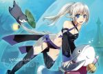 1girl au_ra blue_eyes catfish detached_sleeves dragon_girl dragon_horns dragon_tail final_fantasy final_fantasy_xiv fish hisato_ar horns long_hair looking_at_viewer midriff navel otter scales silver_hair solo swimming tail thigh-highs underwater