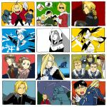 +++ 5girls 6+boys :d \m/ alphonse_elric androgynous annoyed apron aqua_background armor automail back_turned bandanna black_eyes black_hair black_shirt blade blonde_hair blue_background blue_eyes blush braid brothers brown_hair chinese_clothes christmas_tree clenched_hands closed_eyes coat cuffs edward_elric embarrassed frown full_armor fullmetal_alchemist gloves green_background greyscale grin hair_over_one_eye hair_ribbon hand_on_own_cheek handcuffs hood hooded_jacket jacket lan_fan ling_yao long_hair looking_at_another looking_at_viewer looking_away looking_back looking_up may_chang military military_uniform monochrome multiple_boys multiple_girls multiple_persona nervous night official_style olivier_mira_armstrong one_eye_closed open_mouth orange_background panels ponytail red_background red_coat reindeer ribbon roy_mustang serious shaded_face shadow shirt siblings sky smile sparkle sparkle_background sparkling_eyes star_(sky) starry_sky sweatdrop sword thought_bubble tied_hair translation_request tree two-tone_background uniform weapon winry_rockbell xiao-mei yellow_background yellow_eyes