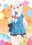 10s 1girl absurdres bangs blue_eyes bow circle cowboy_shot cube eromanga_sensei eyebrows_visible_through_hair green_jacket hair_between_eyes hair_bow highres holding holding_pen hood hooded_jacket izumi_sagiri jacket long_hair looking_at_viewer multicolored multicolored_background multicolored_eyes older partially_unzipped petals red_bow silver_hair smile solo stylus tablet yao_ren_gui yellow_eyes