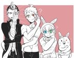 2boys 2girls ? ahoge animal_hood apron blue_eyes bunny_hood danganronpa danganronpa_3 diaper flying_sweatdrops green_eyes grey_eyes height_difference heterochromia hinata_hajime hood jonet lineup monomi_(danganronpa) multiple_boys multiple_girls necktie outside_border pink_background pose rectangle red_eyes simple_background smile spoilers spot_color tanaka_gandamu trait_connection umesawa_aiko upper_body waist_apron yellow_eyes