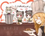 4girls blonde_hair blush chef_hat cigarette closed_eyes cookie_(touhou) english eyebrows_visible_through_hair facing_viewer fake_nyon_(cookie) grey_hair haiperion_buzan hat holding holding_cigarette holding_plate holding_sign holding_spoon kirisame_marisa kofji_(cookie) laughing long_hair looking_at_viewer multiple_girls nazrin nyon_(cookie) open_mouth parted_lips plate red_eyes short_hair sign smile spoon suzu_(cookie) touhou translation_request white_hat