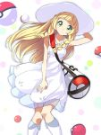 1girl bag blonde_hair boots braid covering covering_crotch dress duffel_bag hand_behind_head hat jpeg_artifacts knee_boots lillie_(pokemon) long_hair mirai_denki multicolored multicolored_polka_dots poke_ball pokemon pokemon_(game) pokemon_sm polka_dot polka_dot_background solo sun_hat sundress twin_braids white_boots white_dress white_hat yellow_eyes