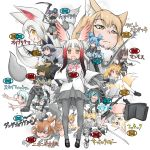 6+girls absurdres animal_ears character_name character_request commentary_request doitsuken everyone eyebrows_visible_through_hair fennec_(kemono_friends) highres holding holding_weapon japanese_crested_ibis_(kemono_friends) kamaichi_(kemono_friends) kemono_friends mammoth_(kemono_friends) multiple_girls oinari-sama_(kemono_friends) pose projected_inset serval_(kemono_friends) simple_background spot_color tail tibetan_sand_fox_(kemono_friends) translation_request weapon white_background