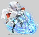 1boy aura belt blue_eyes boots cape circlet copyright_name eliwood_(fire_emblem) fire_emblem fire_emblem:_the_blazing_blade fire_emblem_heroes full_body gloves grey_background male_focus official_art open_mouth polearm redhead solo spear sword teeth wada_sachiko weapon