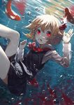 1girl :o air_bubble ascot bare_legs black_skirt blonde_hair bubble collared_shirt fish hair_ribbon highres long_sleeves looking_at_viewer miniskirt red_eyes red_ribbon ribbon rumia sh_(562835932) shirt short_hair skirt skirt_set solo touhou underwater vest white_shirt