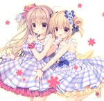 2girls :d ahoge apron blonde_hair bow brown_hair collarbone commentary_request double_bun finger_to_chin hair_bow hair_ornament hair_ribbon hug hug_from_behind index_finger_raised jewelry long_hair looking_at_viewer miyasaka_miyu multiple_girls necklace one_side_up open_mouth original parted_lips pearl_necklace plaid plaid_apron ribbon smile violet_eyes